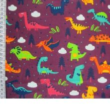 100% Cotton Little Dino Print on Plum Fabric x 0.5m